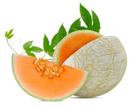 Melon or Cantaloup fruits islated on white background Banco de Imagens