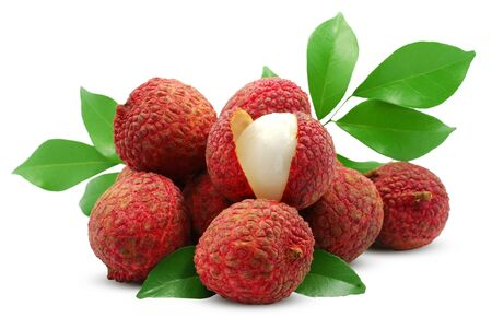 Lychee, litchi fruits isolated on white background Banco de Imagens