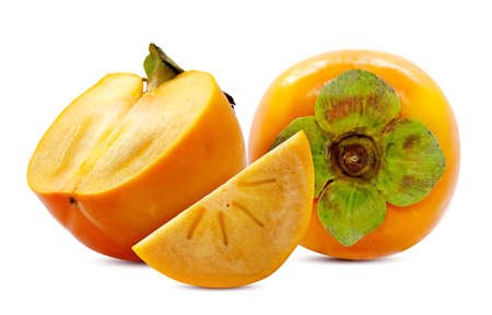 Fresh Persimmon fruit isolated on white background Banco de Imagens