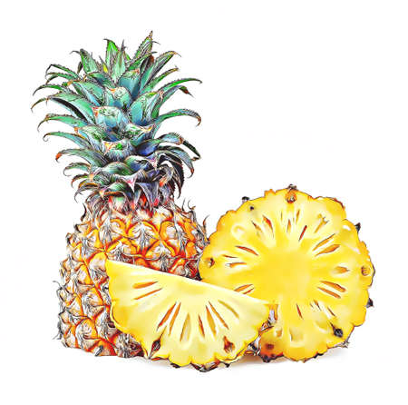 Pineapple isolated on white background Banco de Imagens - 150879612