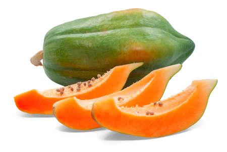 Papaya fruit isolated on white background Banco de Imagens - 151429351