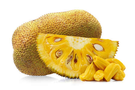 Fresh jackfruit cut out isolated on white background Banco de Imagens - 152258646