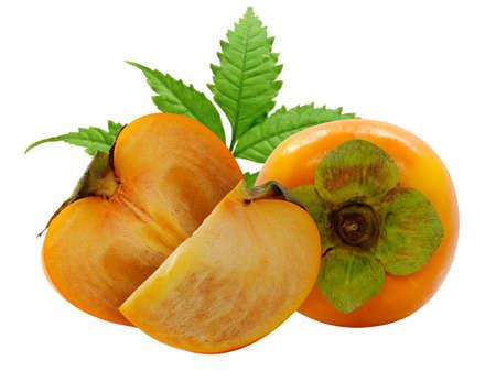 Fresh Persimmon fruit isolated on white background Banco de Imagens