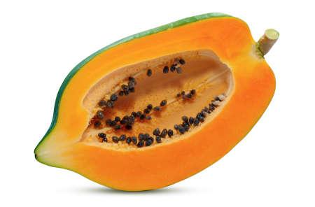 Papaya fruit cutting isolated on white background Standard-Bild