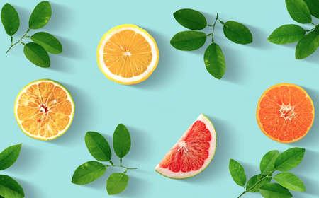 Orange, Pomelo, Lime, Lemon, Group of object isolated on white background Standard-Bild