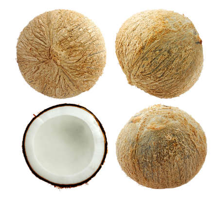Group of Coconut fruit and leaf isolated on white background