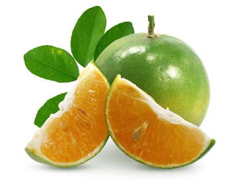 Calamansi or Green orange fruits isolated on white background