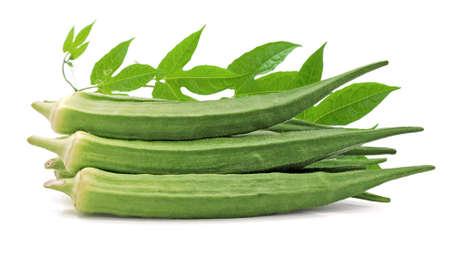 Fresh okra vegetable isolated on white background