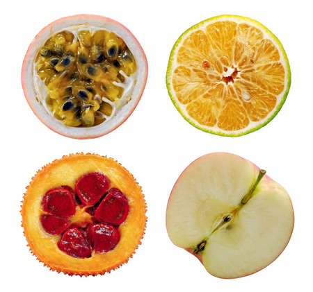 passion, lime, apple and gac fruits isolated on white background