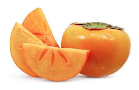 Persimmon fruits isolated on white background