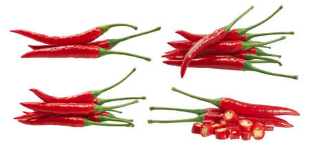Fresh chili peppers isolated on white background 免版税图像