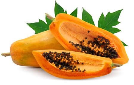 Papaya fruit isolated on white background