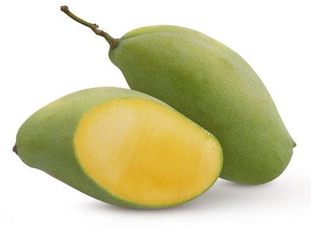 Green mango fruit cut out on white background 免版税图像