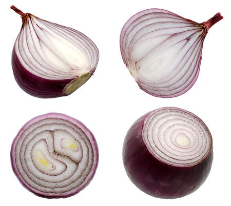 Red onion vegetable isolated on white background