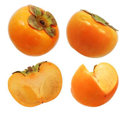 persimmon fruits isolated on white background 免版税图像