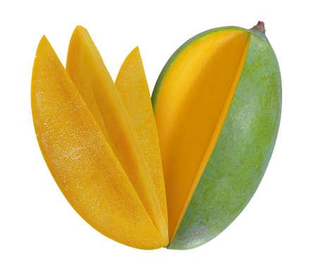 Green mango isolated on white background