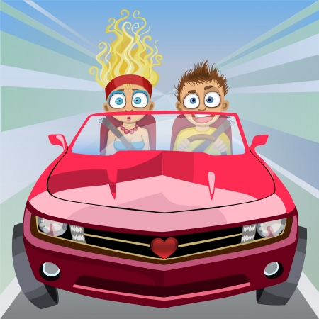 crazy cute: Couple in love racing down the highway at high speed in a red sports car. Illustration