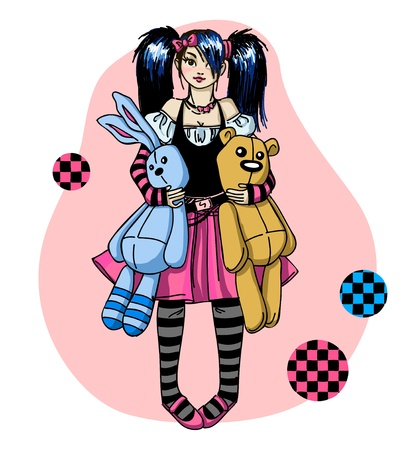 Emo girl with toys Vector