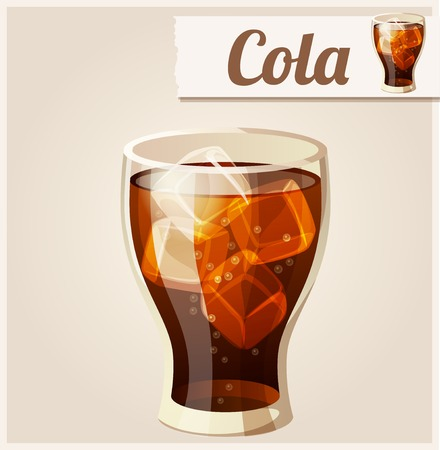 Glass of cola with ice. Detailed Vector Icon.  Vector