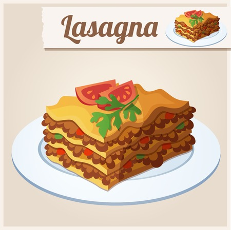 Detailed Icon. Lasagna. Vector