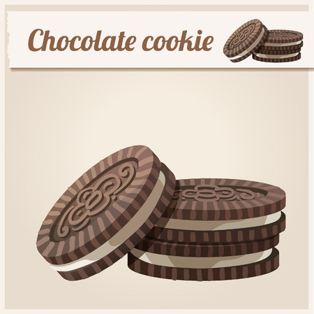 Chocolate cookie. Detailed Vector Icon. Series of food and drink and ingredients for cooking.