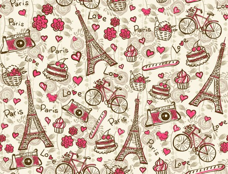 scetch: Paris vintage background Illustration