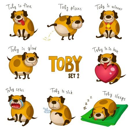Leuke cartoon hond Toby. Set 2 Stock Illustratie