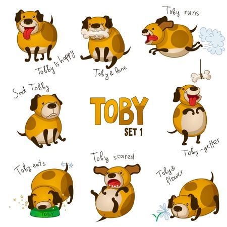 perro caricatura: Perro de dibujos animados lindo de Toby. Set 1