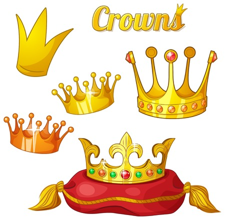 Set of royal gold crowns isolated on white Illustration