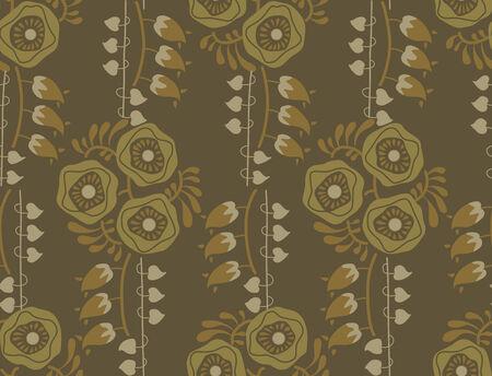 pale ocher: Vintage floral pattern art nouveau style Illustration