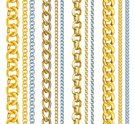 gold colour: Set of realistic vector gold and silver chains