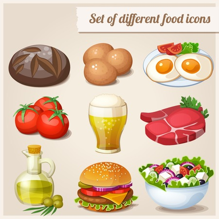 home products: Set of different food icons Illustration