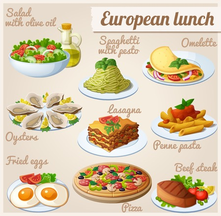 spaghetti: Set of food icons. European lunch Illustration