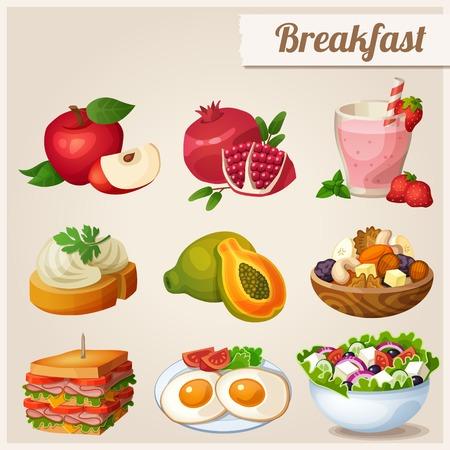 さまざまな食品のアイコンのセットです。朝食。