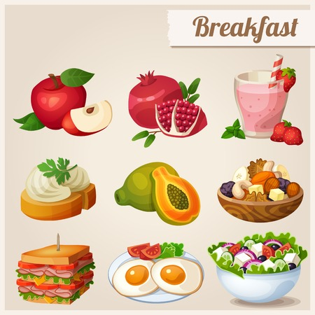 sandwich: Set of different food icons. Breakfast.