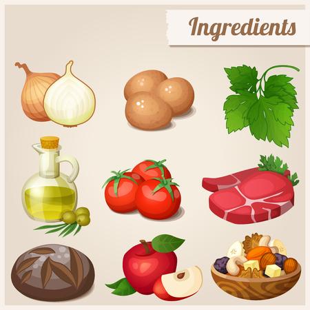 manzana caricatura: Conjunto de iconos de los alimentos. Ingredientes. Vectores