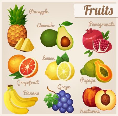 platano caricatura: Conjunto de iconos de los alimentos. Frutas.