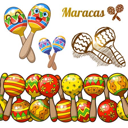Set of colorful fun maracases Vector