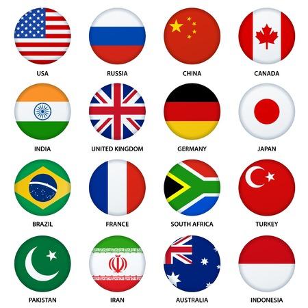 bandera reino unido: Conjunto de banderas botones redondos - 1