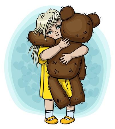 Cute little girl hugging big teddy bear. Vector