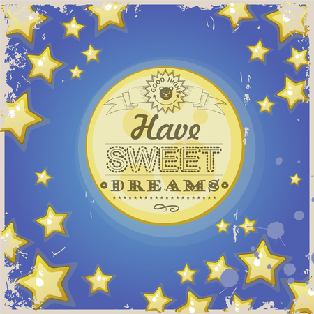blue stars: Greeting retro card. Have sweet dreams