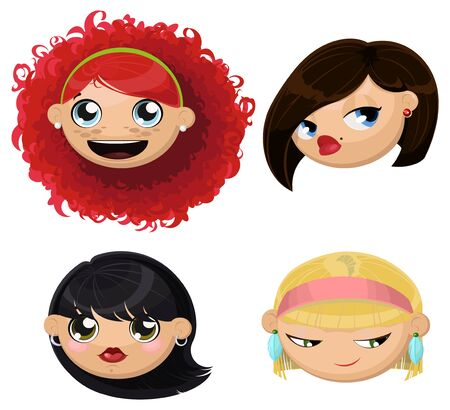lady in red: Set of 4 cartoon female heads