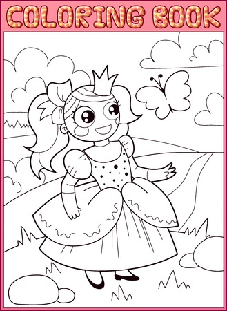 Coloring book. Little princess on the meadow Vector