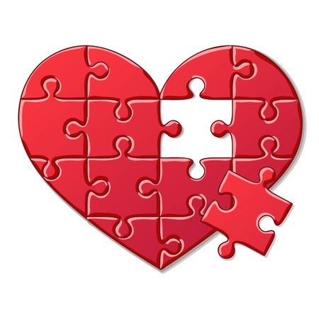 Detailed Icon. Heart puzzle isolated on white background Vector