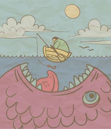 Fisherman and a huge fish in the sea Vector