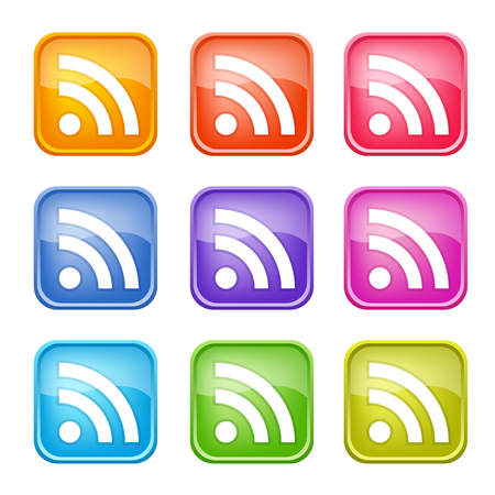 blog: Set of colorful RSS icons