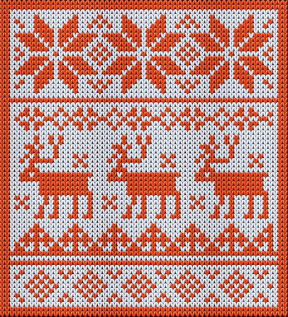 jacquard: Knitted pattern with reindeer and jacquard flowers