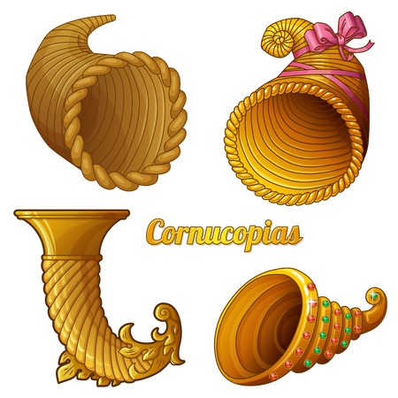 thanksgiving cornucopia: Horns of plenty isolated on white background Illustration