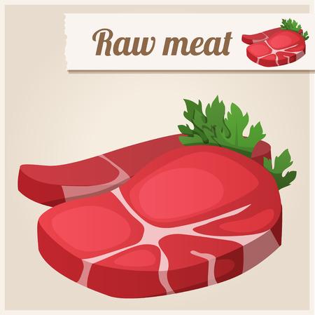 carne asada: Icono detallado. Carne fresca sin procesar. Vectores