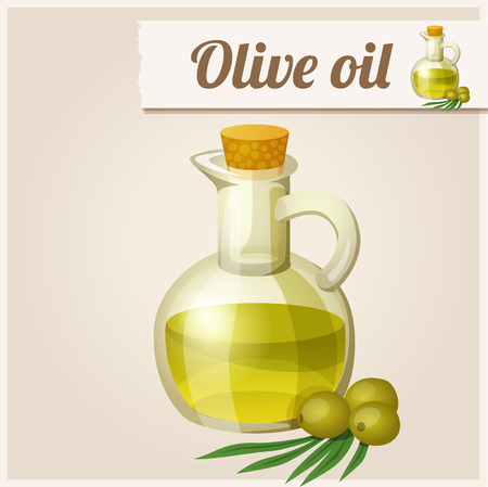 Detailed Icon. Olive oil in bottle. Vector